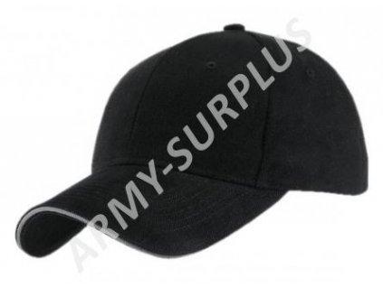 af3b82d206e Čepice kšiltovka černá s bílým lemem bavlna