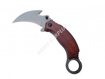 Nůž Karambit dřevěné střenky klip na opasek