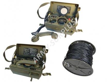 Sada dvou polních telefonů NATO SIEMENS SFT 800-A + 100m kabel