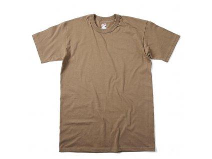 Triko US hnědé krátký rukáv Tan bavlněné originál US ARMY Soffe