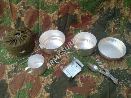 Jídelní set originál retro (campingová souprava,ešus,obal,příbor,vařič,hrnek,ČSLA,AČR)