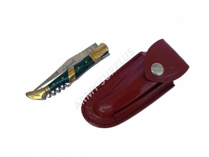 Nůž zavírací s vývrtkou Laguiole s koženým pouzdrem US zelený