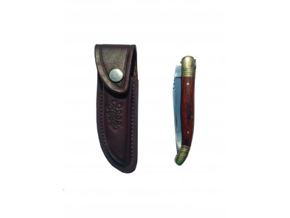 Nůž zavírací hnědý s pouzdrem a dřevěnou rukojetí
