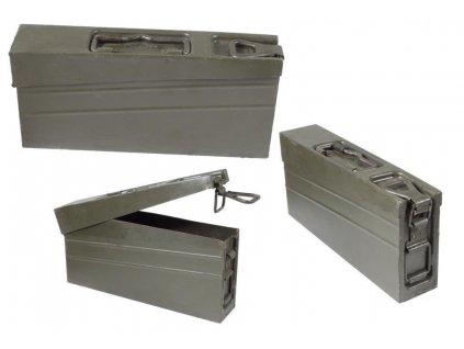 Bedna BW muniční plechová MG3 kulomet 16 x 36 x 7 cm Bundeswehr