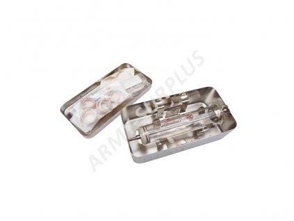Injekční stříkačka skleněná v nerezové krabičce střední