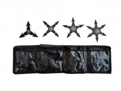 Sada 4 kusy vrhací (házecí) hvězdice Ninja Shuriken černá