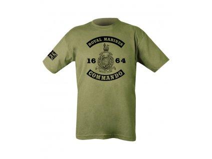 Triko (tričko) oliv s potiskem Royal Marines Commando 1664 Velká Británie Kombat 185g