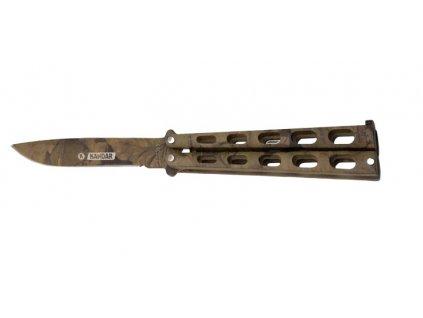 Nůž motýlek nýtovaný maskovaný camo děrovaný Kandar N497E