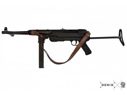 Samopal 9mm MP40 s koženým popruhem Německo WWII sklopná pažba