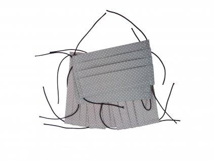 Rouška skládaná bavlněná dvouvrstvá pratelná šedá puntík