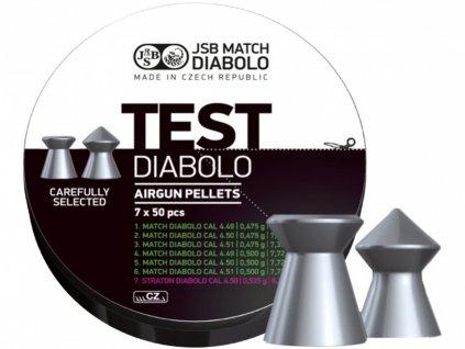 Testovací sada diabolek Match JSB TEST 350 ks cal. 4,5 mm pro vzduchové pistole