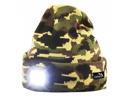Čepice (kulich) zimní camo woodland ARMY s LED svítilnou USB nabíjení Cattara