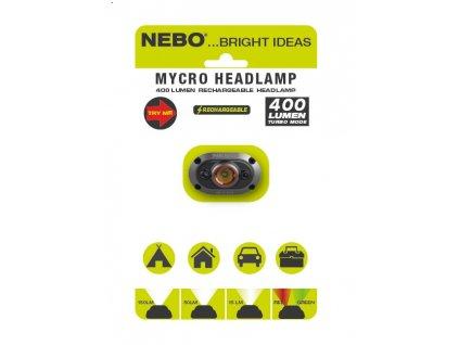 Svítilna čelovka NEBO Mycro Headlamp nabíjecí USB 400 Lumens