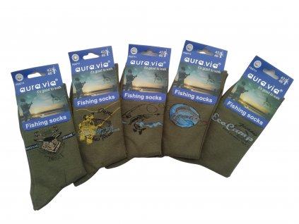 Ponožky oliv Fishing s motivem 5 párů