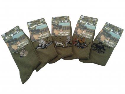 Ponožky oliv Hunting s motivem 5 párů