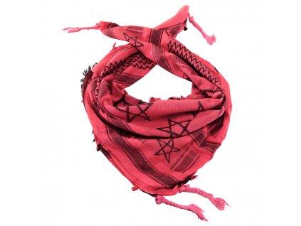 Šátek palestina Pentagram (shemagh, arafat) červená/černá