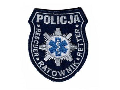Nášivka policejní zdravotník POLICJA RESCUER RATOWNIK RETTER Polsko velcro originál