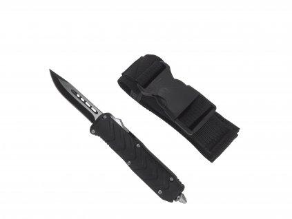 Vystřelovací nůž celokovový černý s hrotem ,klipem a pouzdrem