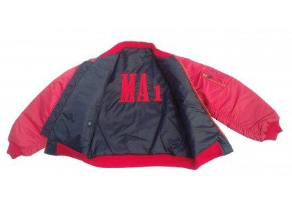 Bunda bomber MA1 red black oboustranná s výšivkou