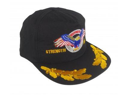 Čepice kšiltovka s výšivkou orel STRENGHT FREEDOM INDEPENDENCE černá vintage 90s