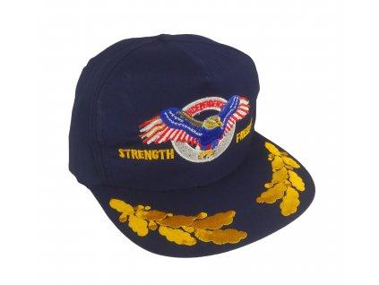 Čepice kšiltovka s výšivkou orel STRENGHT FREEDOM INDEPENDENCE modrá vintage 90s