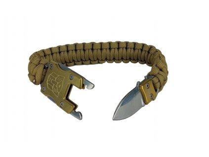 Multifunkční náramek Paracord Survival se skrytým nožem coyote