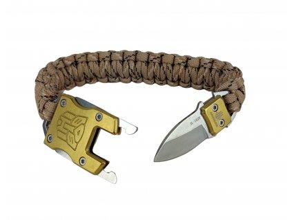 Multifunkční náramek Paracord Survival se skrytým nožem desert