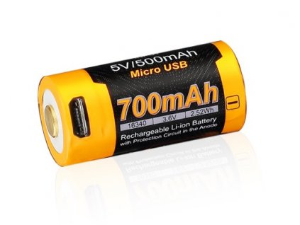 Akumulátor (nabíjecí USB baterie) Fenix RCR123A / 16340 (Li-Ion) Micro-USB