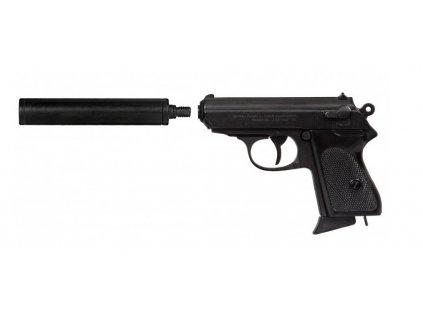 Poloautomatická pistole 7.65 PK s tlumičem Německo 1931 Repro