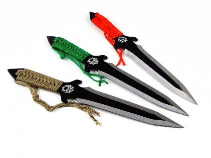 Nože vrhací (házecí) Kandar N-129 Skull sada 3 kusy s pouzdrem