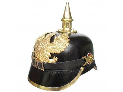 Německá kožená Pruská helma (přilba) důstojníka Pickelhaube Repro