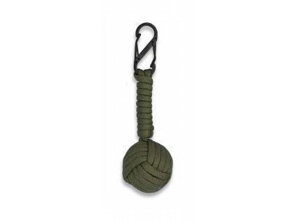 Přívěšek na klíče paracord Monkey's fist oliv