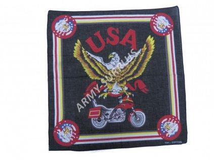 Šátek potisk čtvercový orel-moto USA