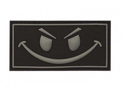 Nášivka Evil smiley černý 3D PVC