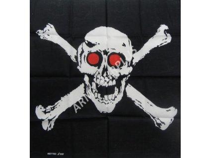 Šátek potisk pirátská vlajka čtvercový