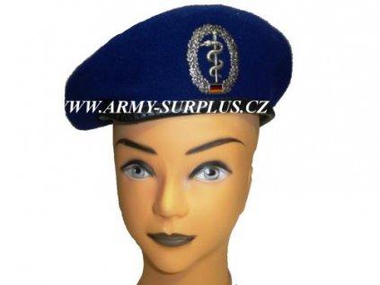 Baret BW (Bundeswehr) modrý použitý s odznakem