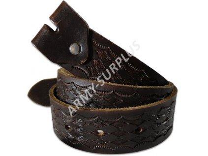 Opasek kožený zdobený bez spony (přezky) - vzor 6 (ruční výroba)