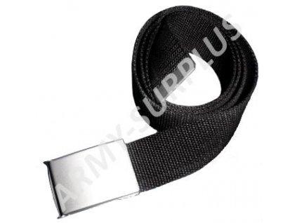 Opasek kalhotový černý stříbrná spona