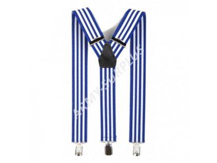 Kšandy s potiskem - modré/bílé pruhy námořnické (šle)