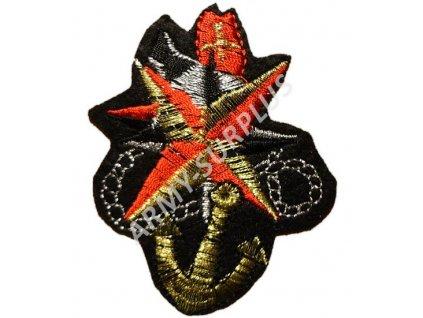 Nášivka kotva - hvězda nažehlovací