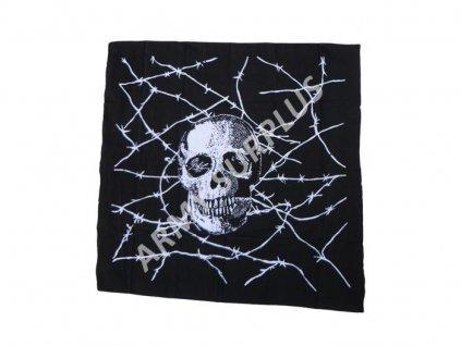 Šátek 95 x 95 cm potisk lebka drát čtvercový černý velký