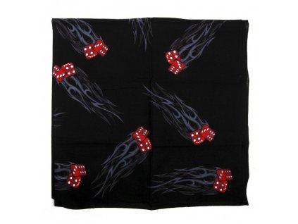 Šátek černý 95x95cm potisk kostky čtvercový velký