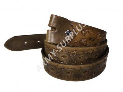 Opasek kožený zdobený bez spony (přezky) - vzor 8 (ruční výroba)