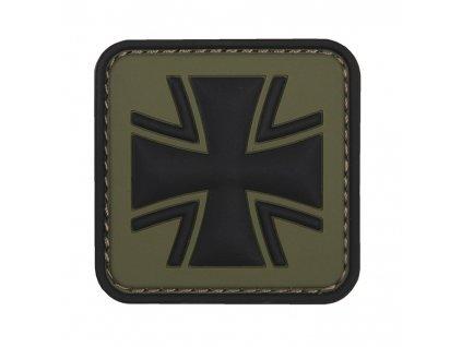 Nášivka německý kříž oliv 3D PVC suchý zip
