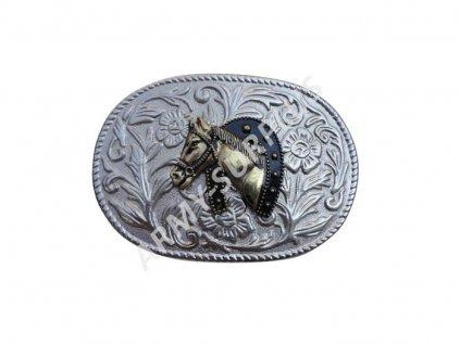 Přezka (spona) na opasek western kůň s podkovou