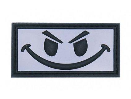 Nášivka Evil smiley biely 3D PVC
