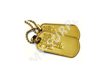 Identifikační známky ID US Dog Tags originál zlaté - ražba ID známek