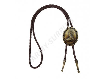Bolo western kravata mosaz - bota s ostruhy  F078m