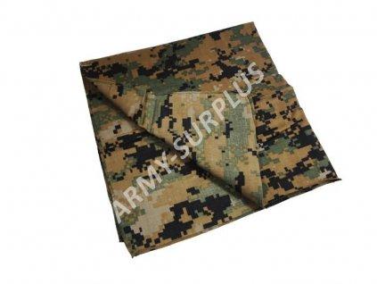 Šátek čtvercový potisk digital woodland marpat 50 x 50 cm