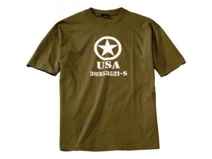 Tričko (triko) potisk hvězda USA oliv